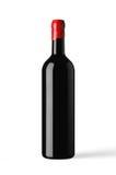 Fles rode die wijn met wascapsule wordt geïsoleerd Royalty-vrije Stock Foto