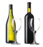 Fles rode en witte wijn Stock Afbeelding