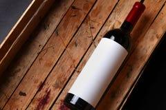 Fles rode wijn Stock Foto