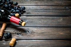 Fles rode wijn met druiven royalty-vrije stock afbeelding