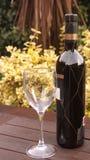 Fles rode wijn met glas Royalty-vrije Stock Afbeeldingen