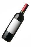 Fles rode wijn met leeg etiket Royalty-vrije Stock Afbeeldingen