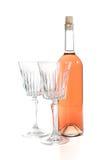 Fles roze wijn Stock Foto