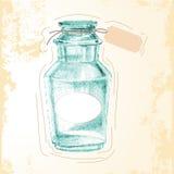 Fles tekenings van het uit de vrije hand de medische pictogram Stock Fotografie