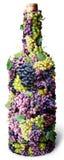 Fles van de wijnstok kronkelde rond met clusters van druif  Stock Fotografie