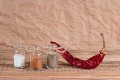 Fles van gekruid met Spaanse peper Stock Afbeelding