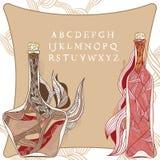 Fles van magische wijnstok stock illustratie