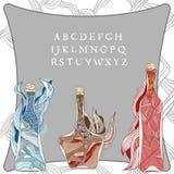 Fles van magische wijnstok royalty-vrije illustratie