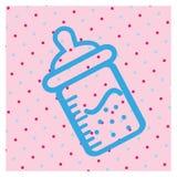 Fles van melk naadloos patroon roze achtergrond Stock Afbeeldingen