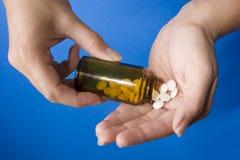 Fles van pillen Stock Afbeeldingen