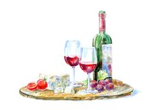 Fles van rode wijn, glazen, kaas, kersentomaat en druiven op een houten raad stock illustratie