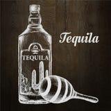 Fles van tequila met kalk en glas Met de hand geschilderd Royalty-vrije Stock Afbeelding