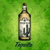 Fles van tequila met kalk en glas Met de hand geschilderd Royalty-vrije Stock Fotografie