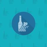 Fles van wijn en druiven stock illustratie