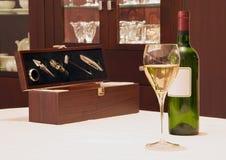 Fles van wijn en toebehoren Royalty-vrije Stock Foto