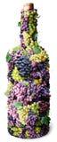 Fles wijn die van druiven wordt gemaakt. Stock Fotografie