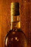 Fles wijn met de waterdruppeltjes stock foto