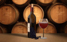 Fles wijn met druiven en een glas Stock Afbeeldingen