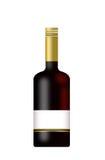 Fles Wijn met een leeg geïsoleerdr etiket Royalty-vrije Stock Afbeelding