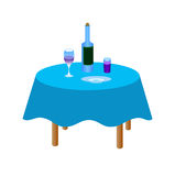 Fles wijn op de lijst Stock Afbeeldingen