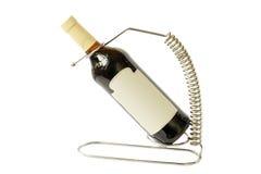 Fles wijn op de tribune Royalty-vrije Stock Afbeeldingen