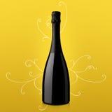 Fles wijn op gele achtergrond Royalty-vrije Stock Foto