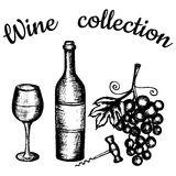 Fles, wijnglas, druiven, kurketrekker Het van letters voorzien wijninzameling Stock Afbeeldingen