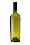 Fles witte wijn die met het knippen van weg wordt geïsoleerdo Stock Afbeelding
