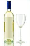 Fles witte wijn en leeg wijnglas royalty-vrije stock afbeelding