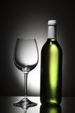 Fles witte wijn en leeg wijnglas Stock Afbeeldingen