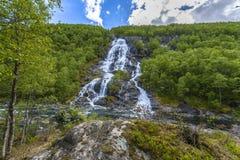 Flesana waterfall in Norway Royalty Free Stock Photography