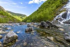 Flesana waterfall in Norway Royalty Free Stock Photo
