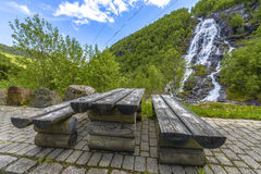 Flesana waterfall in Norway Royalty Free Stock Images