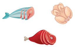 Flesh. Raw meat on a white background vector illustration