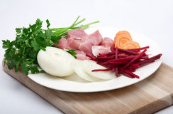 Flesh meat with vegetables Stock Photos