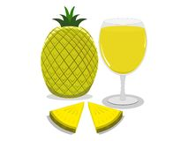 The flesh pineapple and juice vector illustration