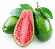 Flesh of watermelon on the cut avocado Stock Photo