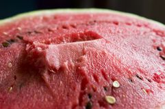 The flesh of watermelon. Pictured red, juicy flesh of watermelon royalty free stock image