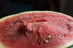 The flesh of watermelon. Pictured red, juicy flesh of watermelon royalty free stock photo