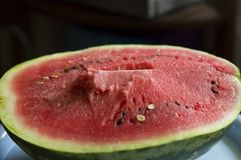 The flesh of watermelon. Pictured red, juicy flesh of watermelon stock photo