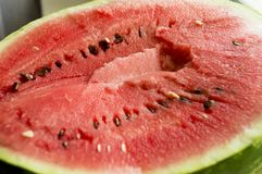 The flesh of watermelon. Pictured red, juicy flesh of watermelon royalty free stock images