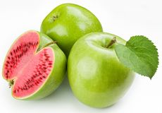 Flesh watermelon to cut green apple. stock photos
