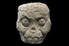 Fleshless Mayan stone skull Royalty Free Stock Images