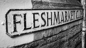 Fleshmarket Close. Edinburgh, Scotland. Named after the meat market which was situated here which led to a slaughterhouse.  is also the title of contemporary stock images