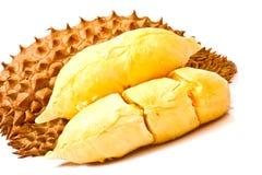 Fleshs del Durian di freschezza su bianco Fotografie Stock