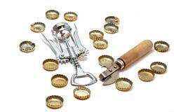 Flesopeners en kappen van bierflessen royalty-vrije stock fotografie