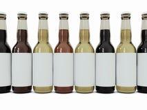 Flessen bier in een aantal Royalty-vrije Stock Afbeelding