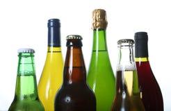 Flessen bier en wijn Stock Afbeelding