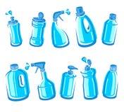 Flessen detergent reeks Inzamelingsetiket en pictogrammen Vector Royalty-vrije Stock Afbeeldingen