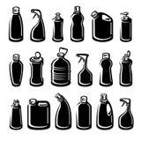 Flessen detergent reeks Inzamelingsetiket en pictogrammen Vector Royalty-vrije Stock Fotografie